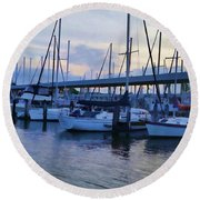 In My Dreams Sailboats Round Beach Towel
