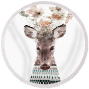 Round Beach Towel featuring the painting In Nature Deer by Bri B