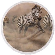 Round Beach Towel featuring the painting In Pursuit by Alan M Hunt