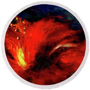 In Red Abstract Hibiscus Round Beach Towel