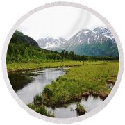 In Road To Denali Round Beach Towel