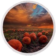 In Search Of The Great Pumpkin Round Beach Towel