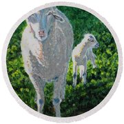 Round Beach Towel featuring the painting In Sheep's Clothing by Karen Ilari