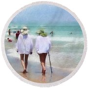 In Step With Life Round Beach Towel
