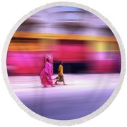 Round Beach Towel featuring the photograph In Sync In Senegal by Wayne King