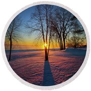 Round Beach Towel featuring the photograph In That Still Place by Phil Koch