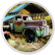 In The Autumn Of Life - 1945 Ford Flatbed Truck Round Beach Towel