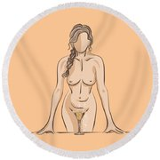 In The Bathroom. Round Beach Towel