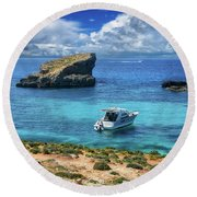 In The Beautiful Island Of Comino Round Beach Towel by Stephan Grixti