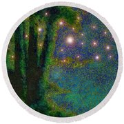 In The Beginning God... Round Beach Towel by Hazel Holland