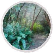 Round Beach Towel featuring the painting In The Bush by Ivana Westin
