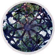 Round Beach Towel featuring the photograph In The Center Of Seven Under Birds #1 - Tiny Planet by Chris Bordeleau