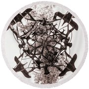 In The Center Of Seven Under Birds Bw - Tiny Planet Round Beach Towel