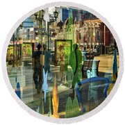 In The City Round Beach Towel