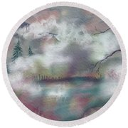 Round Beach Towel featuring the painting In The Clouds by Annette Berglund