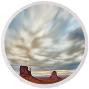 Round Beach Towel featuring the photograph In The Clouds by Jon Glaser