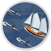 Round Beach Towel featuring the digital art In The Company Of Whales by Gary Giacomelli