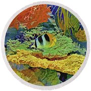 In The Coral Garden 10 Round Beach Towel