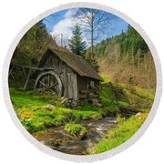 In The Countryside - Old Barn Near River Round Beach Towel