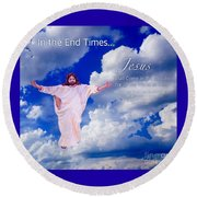 Round Beach Towel featuring the painting In The End Times Jesus Will Come In The Clouds by Kimberlee Baxter