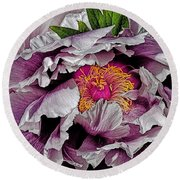 In The Eye Of The Peony Round Beach Towel by Chris Lord