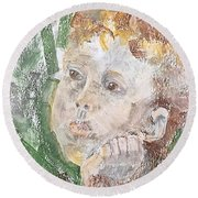 In The Eyes Of A Child Round Beach Towel
