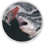 In The Face Of Fear Round Beach Towel