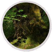 Round Beach Towel featuring the digital art In The Forest by I'ina Van Lawick