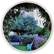 In The Garden At Mount Zion Hotel  Round Beach Towel by Lydia Holly