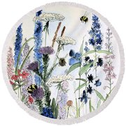 Round Beach Towel featuring the painting In The Garden by Laurie Rohner