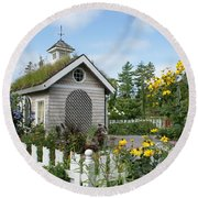 In The Garden Round Beach Towel by Lois Lepisto