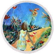 In The Garden Of Joy Round Beach Towel