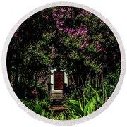 In The Garden - The Hermitage Round Beach Towel