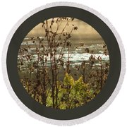 In The Golden Light Round Beach Towel by Mary Wolf