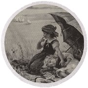 In The Harvest Field, Guardians Of The Luncheon Basket Round Beach Towel