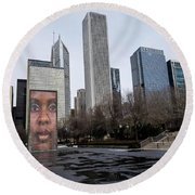 In The Heart Of Chicago Round Beach Towel