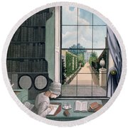 In The Library, St. James' Square Round Beach Towel