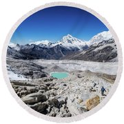In The Middle Of The Cordillera Blanca Round Beach Towel