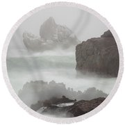 In The Midst Of A Tempest Round Beach Towel by Mark Alder