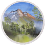 In The Mist Round Beach Towel by Meryl Goudey