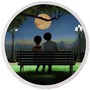 In The Park After Dark Round Beach Towel