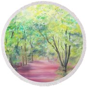 Round Beach Towel featuring the painting In The Park by Elizabeth Lock