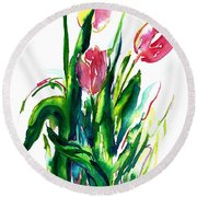 In The Pink Tulips Round Beach Towel