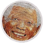 Nelson Mandela - In The Pyramid Of Our Minds Round Beach Towel