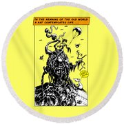 Round Beach Towel featuring the drawing In The Remains Of The Old World by Kim Gauge
