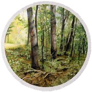 Round Beach Towel featuring the painting In The Shaded Forest  by Laurie Rohner
