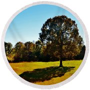 In The Shadow Of A Tree Round Beach Towel