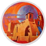 In The Shadow Of St. Francis Round Beach Towel by Art West