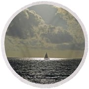 In The Spotlight. Sailboat Sailing In Naples Fl Round Beach Towel