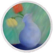 Round Beach Towel featuring the painting In The Still Of The Light by Kevin Caudill